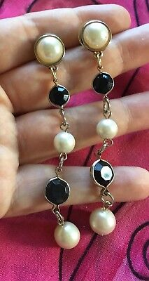 Vintage Antique Gold Pearl Black Crystal Stud Drop Earrings Deceased Estate Vtg