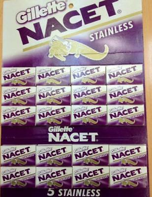 100 Gillette NACET STAINLESS Double Edge Razor Blades Made in Russia (original)