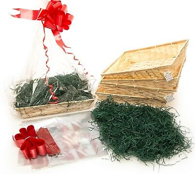 Gift Baskets Christmas DIY hamper Sm Beale Bumper Pack of 5 Green Shred Red Bows