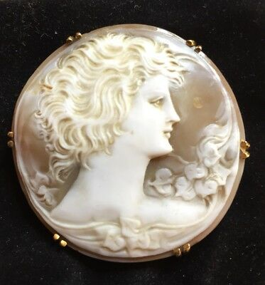 1930 BROCHE ancienne CAMÉE OR 18K/ antique Edwardian 18k gold cameo brooch