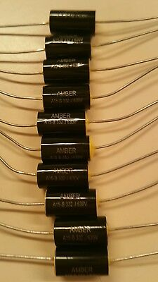 NEW 25 x BLACK 0.1uF / 630 VOLT POLYESTER AXIAL CAPACITOR * NEW STOCK