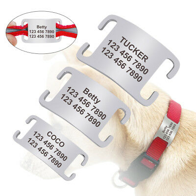 "Stainless Steel Slide-on Dog Tags 3/4"" 5/8"" 3/8"" Width Personalised Collar Tags"