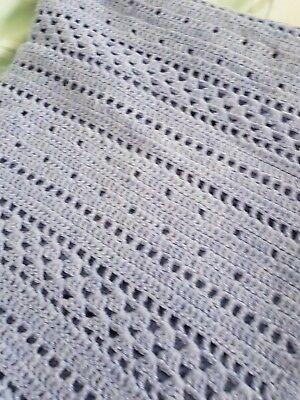 Large Hand Crochet Blanket Bed Throw Approx 54 x 86 inches Lilac