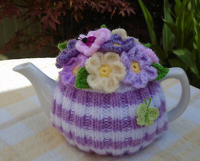 Hand Knitted Flowers And Butterfly Tea Cosy For A Medium Teapot Crochet