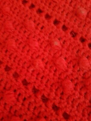 Large Handmade Crochet Blanket Bed Throw Approx 62 x 66 inches Red