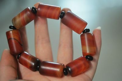 Tibet Magic power Hand knit Natural agate Barrel bead Charm bracelet R77