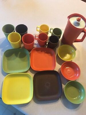 Vintage Pretend Play Tupperware Tuppertoys Dishes Set Pitcher Plates Cups Bowls
