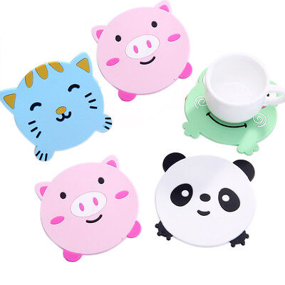 4PC Animal Cute Cartoon Pattern Silicone Cup Drink Holder Mat Tableware Placemat