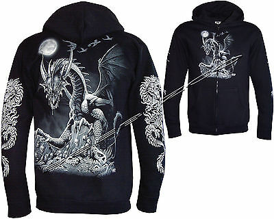 New Mens Dragon Skull Motorbike Motorcycle Glow in The Dark Hoodie Hoody Jacket