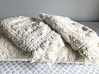Beautiful Vintage Ivory Chenille Bedspread with Fringe + 2 Shams Full Queen