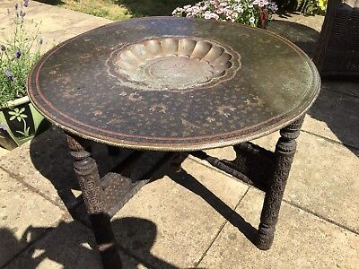 Vintage Oriental/African copper/brass top folding table