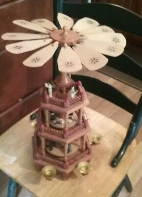 Vtg.Wood Christmas Nativity Pyramid Carousel 3 Tier Large Windmill Candle Holder