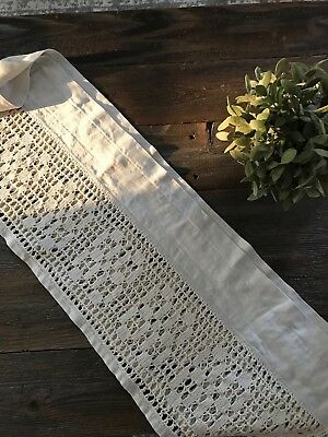 "CUSTOM 90"" ANTIQUE Lace French Country Valance LinenCurtain SHABBY Rustic Chic"
