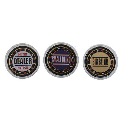 3pcs/Set Poker Game Dealer Buttons Small Blind Big Blind Playing Card Parts
