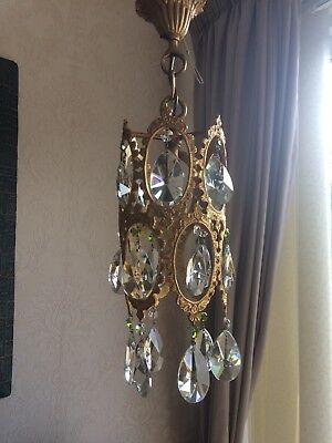 Vintage Gold Gilt Crystal Pendant Light  Chandelier Beautiful