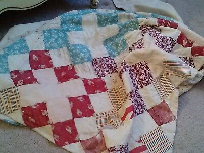 Vintage All Hand Made Geometric Patchwork Tie Back Cotton Quilt Top-55X68-Retro