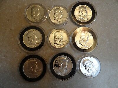 Full roll Franklin Halves 15 different dates 19 AU++ 1 proof