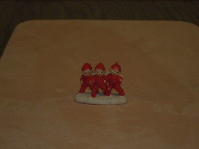 Antique German Bisque Snow Baby Three tiny Elves arm in arm on snow base Hertwig