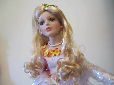 """Sleeping Beauty Princess  Porcelain Doll With Stand 16"""""""