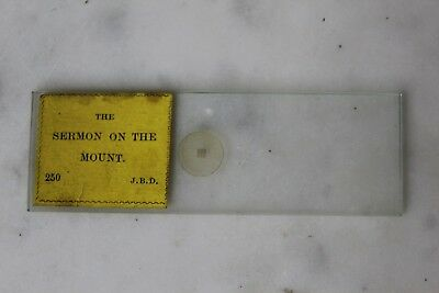 "ANTIQUE MICROSCOPE MICROPHOTO. SLIDE ""The Sermon On The Mount"" J.B.DANCER"