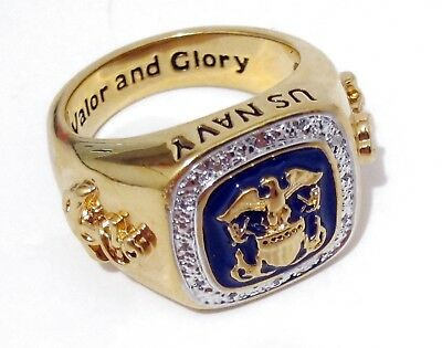 US NAVY RING - VALOR AND GLORY - GOLD PLATED w/ DIAMOND CHIPS