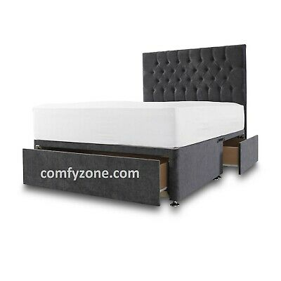 KING SIZE CHENILLE DIVAN BED BASE 5ft - STORAGE DRAWS - HEADBOARD - GREY - BLACK
