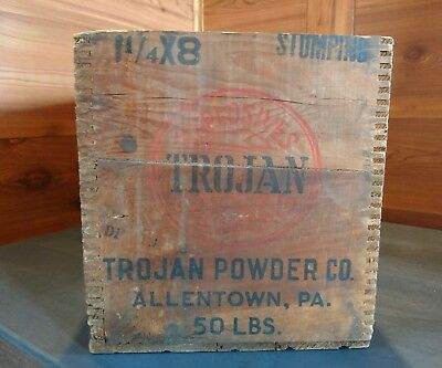 Vintage Trojan Explosives Wood Crate / Box