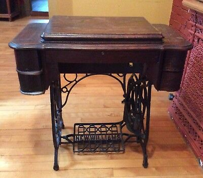 """Antique """"new Williams"""" Wooden Sewing Table"""