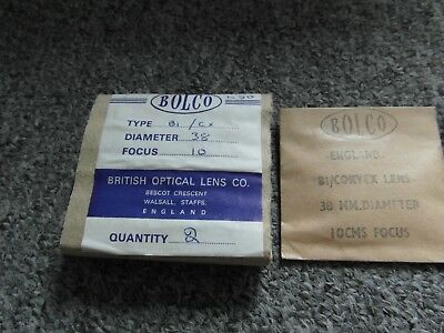 Lenses by British Optical Co. These are unused lenses, still wrapped.