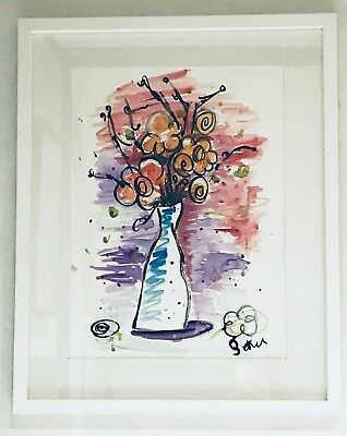 Contemporary A3 PRINT watercolour painting large FRAMED Vase of flowers 3