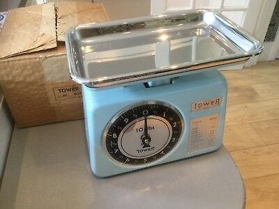 Vintage Retro Tower  Kitchen Scales Duck egg Blue near immaculate original box