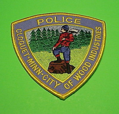 """Cloquet  Minnesota  """" City Of Wood Industries """"   Police Patch  Freeshipping!!!"""