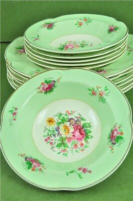 Vintage Johnson Bros. Pareek Set Of Bowls x12 Large & Small Green Floral England