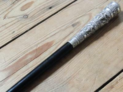 Antique Conductors Baton/Swagger Stick With Indian Hand-carved Silver Top