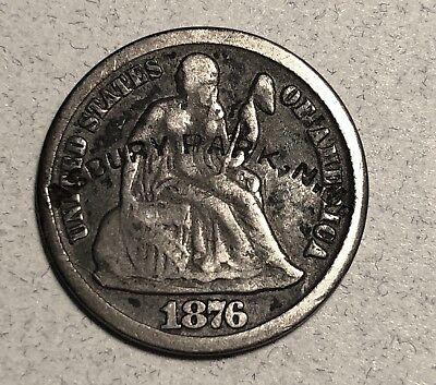 1876-CC Liberty Seated 10C Dime Asbury Park Counterstamped