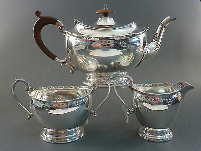 GOOD SOLID SILVER 3pc TEA SET GOOD GAUGE BIRMINGHAM 1926