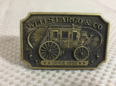 Vintage WELLS FARGO & CO Stage Coaches Wood Business Card Holder