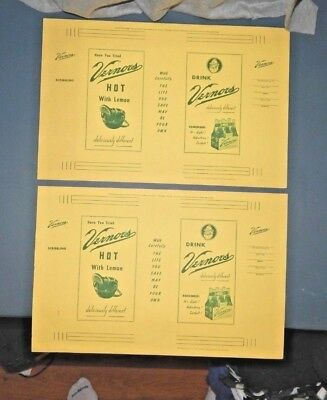 2) VERNORS PAPER BOOK COVERS Soda Advertising Promo VINTAGE 1950 NOS