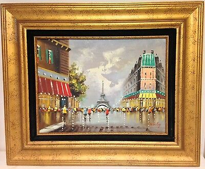 Oil On Canvas French Impressionism Paris Street Scene Signed MOSLEY