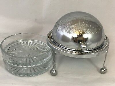 Vintage Chrome Plate Roll Top/Globe Butter or Caviar Dish with Glass Insert