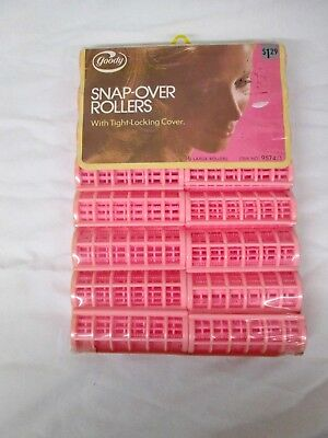 Vintage 1973 Goody Pink Snap-Over Rollers 16 Large Rollers NOS
