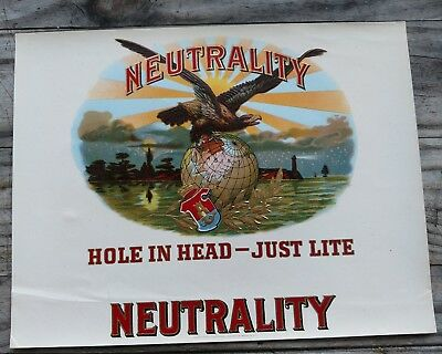 NEUTRALITY WWII  CIGAR Box Label INNER Original 1939-1941 WORLD WAR 2 US EAGLE