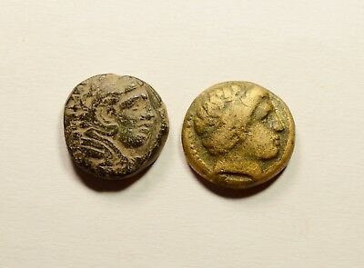 PHILIP II & Alexander III The Great - LOT OF 2 ANCIENT GREEK COINS