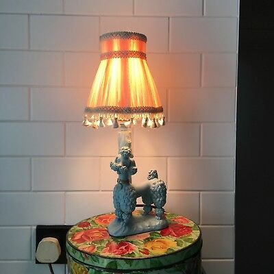 Vintage Retro Bedside Table Lily the Poodle Electric Lamp 1950s 1960s Working