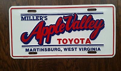 MILLER'S APPLE VALLEY TOYOTA Dealer License Plate MARTINSBURG, WEST VIRGINIA WVU