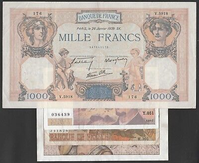 L46 FRANCE collection of 4 paper money items incl.echantillon specimen&1939 P90c