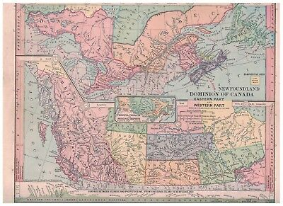 1885 Map of Dominion of Canada Eastern and Western Parts - Nice Colors & Details
