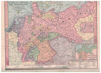 1885 Map of German Empire and The Netherlands - Nice Colors & Details