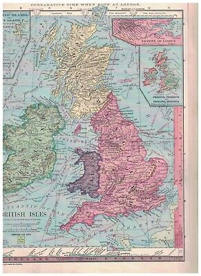 1885 Map of The British Isles - Nice Colors & Details