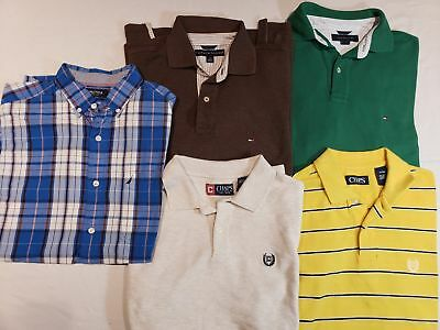 Nice Lot Of 5 Nautica Chaps Tommy Hilfiger Mens Short Sleeve Polo Shirts Small